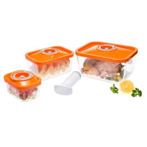 Üveg vákuumtárolódoboz-szett (narancs)