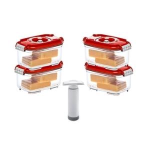 Status szett (4 db piros vákuumtároló doboz 0,5 L+1 db kézi pumpa)
