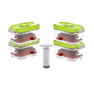 Status szett (4 db zöld vákuumtároló doboz 0,5 L+1 db kézi pumpa)