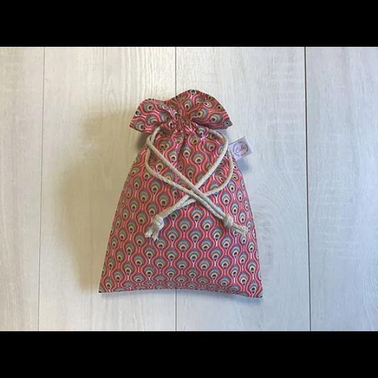 Újrazsák-Kenyeres tasak mini, Páva-piros