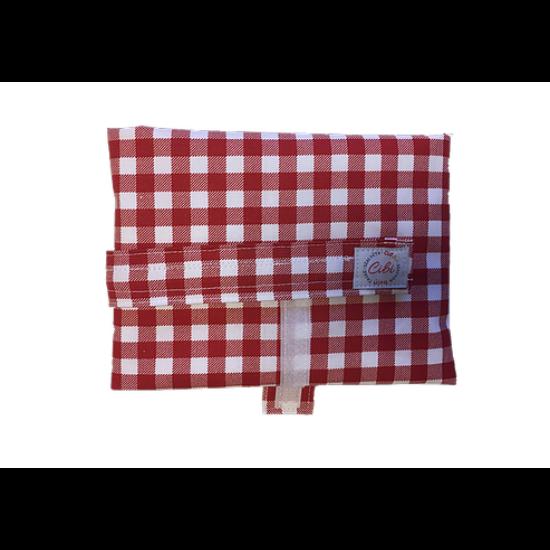 Újraszalvéta XL - élelmiszerbiztos, Kockás-piros