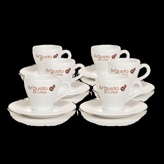 Ar'Gusto porcelán kávéscsésze és alj (6 db, Kávés)
