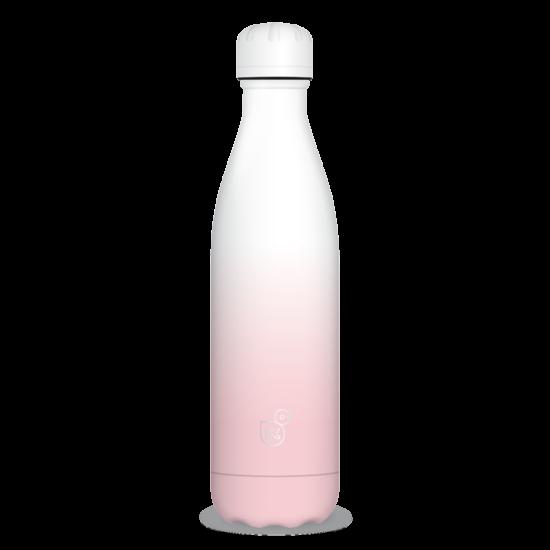 Duplafalú fémkulacs - Fehér / Rózsaszín ( 500ml )