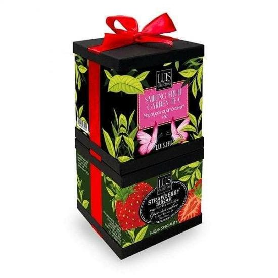 Szett - Mosolygós gyümölcskert tea és Eper ízű cukor