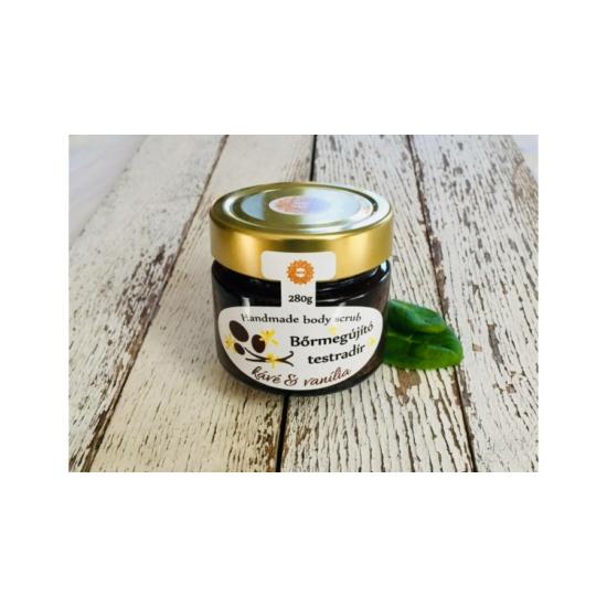 Bőrradír Kávés, vanília illattal, parajdi sóval, organikus szőlőmag-, mandula- és olíva olajjal 280g
