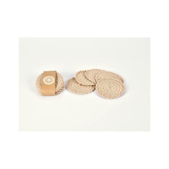 Kézműves horgolt arctisztító korong organikus pamutból, bézs színű 5db