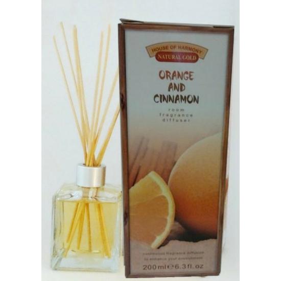 Bambuszpálcás illatosító narancs és fahéj illat (200ml, Orange & Cinnamon)