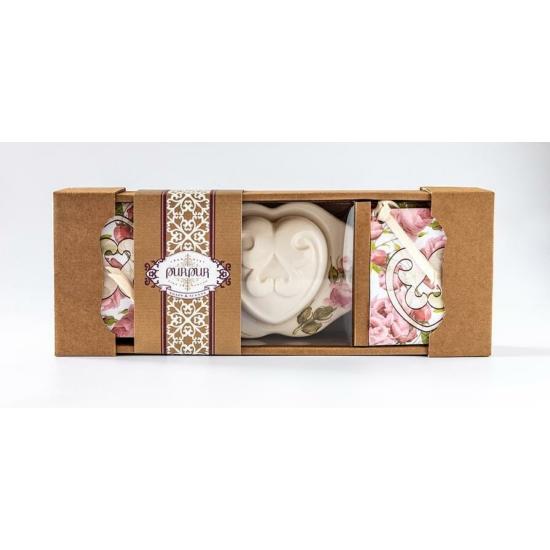 PurPur Szívbox kerámia + 4 kistasak (Rózsa)
