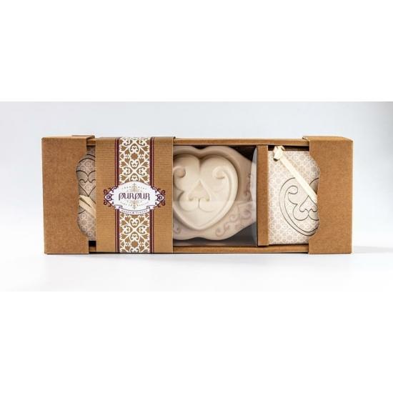 PurPur Szívbox kerámia + 4 kistasak (Silk&Secret)