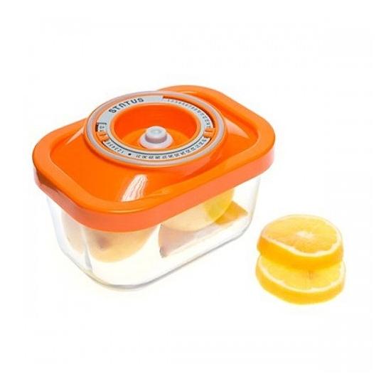 Üveg vákuumtároló doboz, hasáb (narancs, 0,5 L)