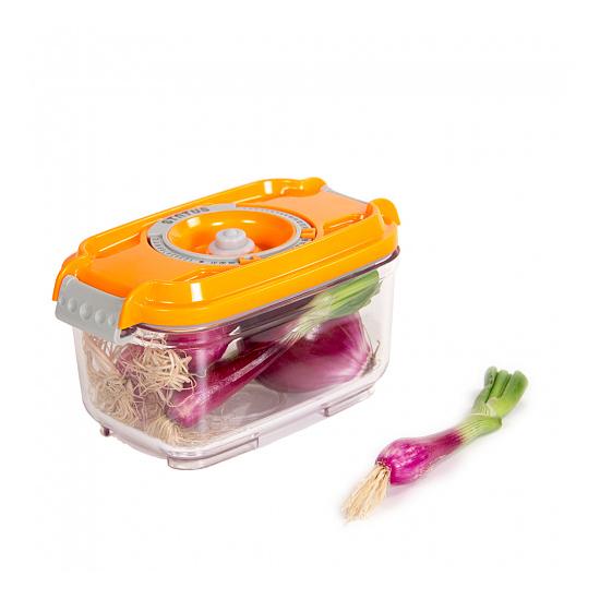 Vákuumtároló doboz, hasáb (narancs, 0,5 L)
