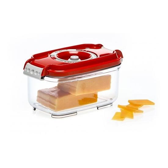 Vákuumtároló doboz, hasáb (piros, 0,5 L)