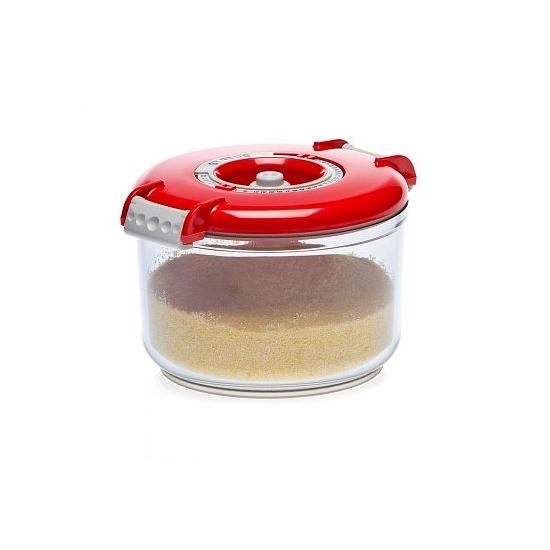 Vákuumtároló doboz, kerek (piros, 0,75 L)