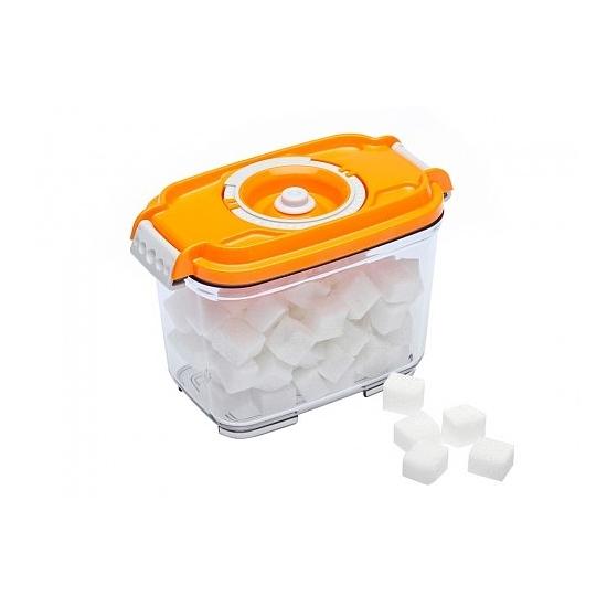 Vákuumtároló doboz, hasáb (narancs, 0,8 L)