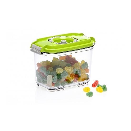 Vákuumtároló doboz, hasáb (zöld, 0,8 L)