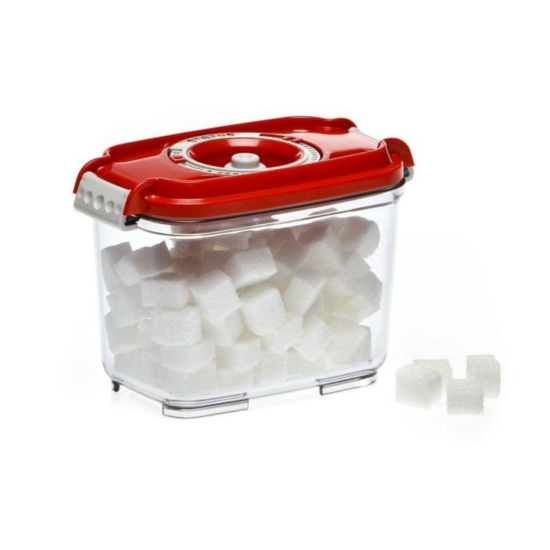 Vákuumtároló doboz, hasáb (piros, 0,8 L)