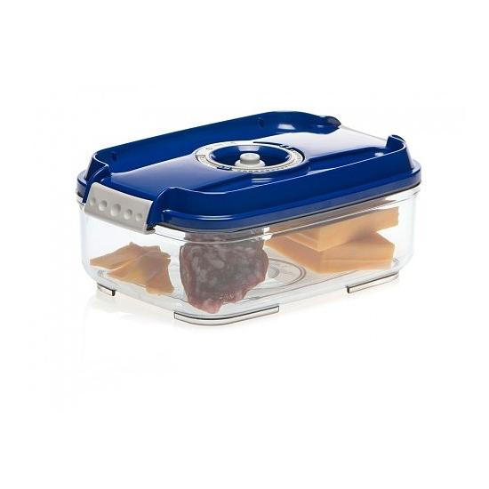 Vákuumtároló doboz, hasáb (kék, 1,4 L)