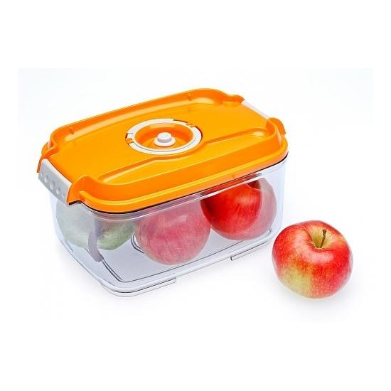 Vákuumtároló doboz, hasáb (narancs, 2,0 L)