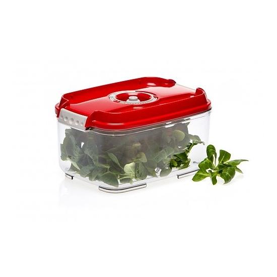 Vákuumtároló doboz, hasáb (piros, 2,0 L)