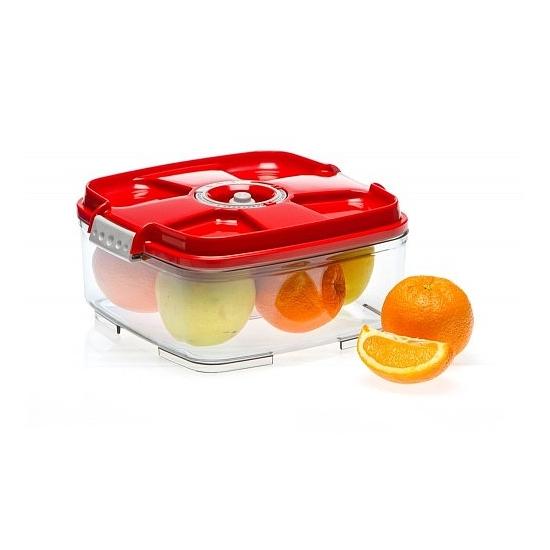 Vákuumtároló doboz, négyzet (piros, 2,0 L)