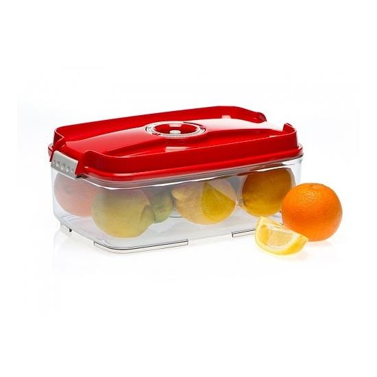 Vákuumtároló doboz, hasáb (piros, 3,0 L)