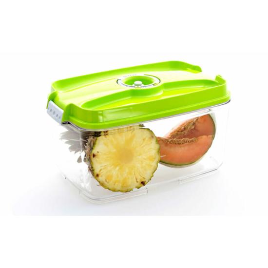 Vákuumtároló doboz, hasáb (zöld, 4,5 L)