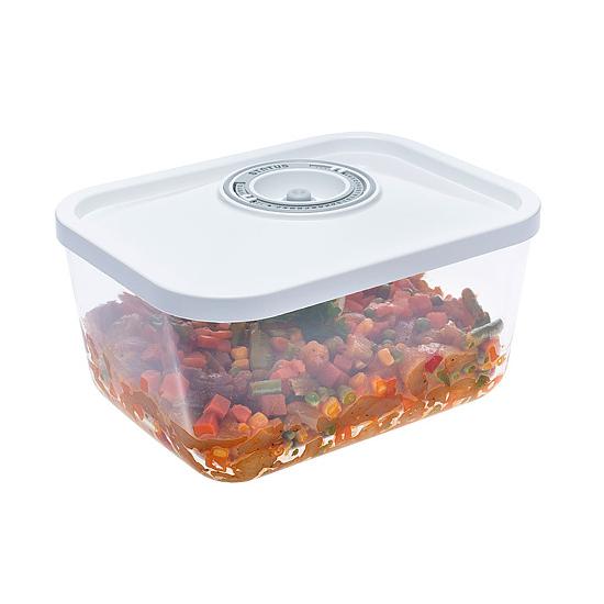 Üveg vákuumtároló doboz, hasáb (Fehér, 3,0 L)