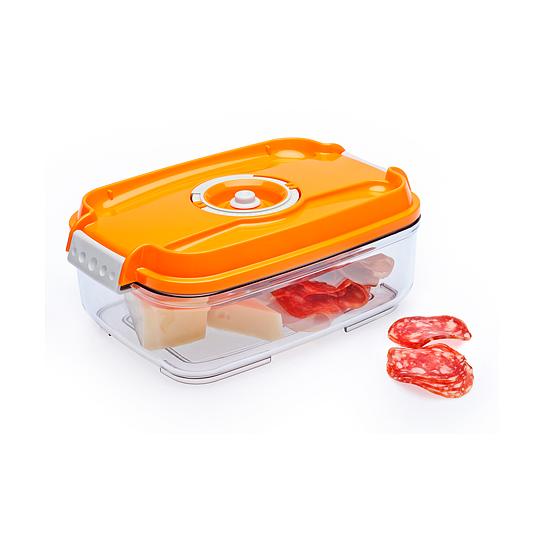 Vákuumtároló doboz, hasáb (narancs, 1,4 L)