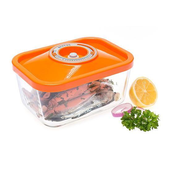 Üveg vákuumtároló doboz, hasáb (narancs, 1,5 L)