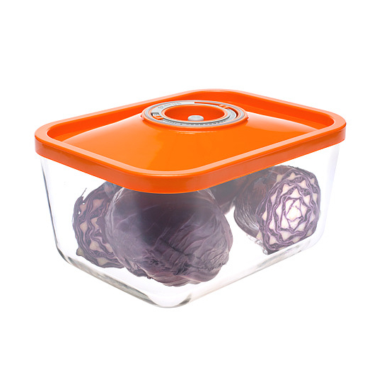 Üveg vákuumtároló doboz, hasáb (narancs, 3,0 L)