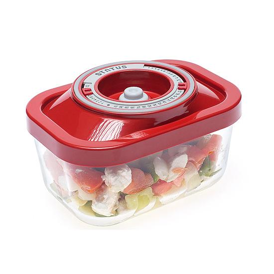 Üveg vákuumtároló doboz, hasáb (piros, 0,5 L)