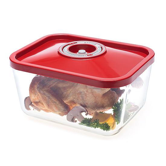 Üveg vákuumtároló doboz, hasáb (piros, 3,0 L)