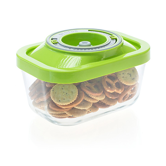 Üveg vákuumtároló doboz, hasáb (zöld, 0,5 L)