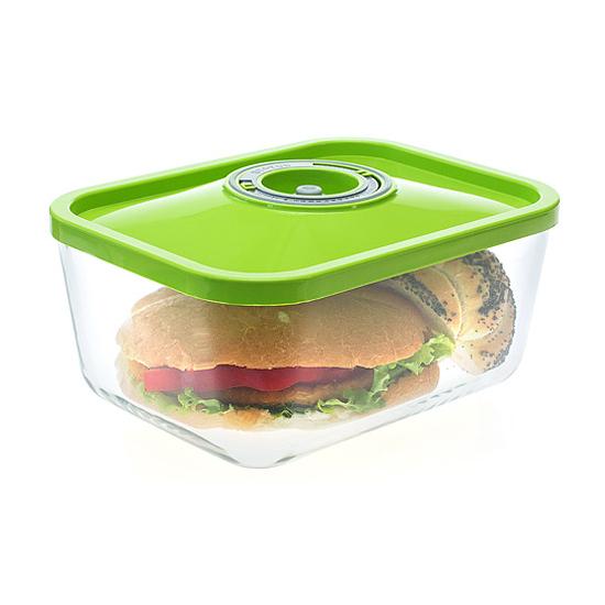Üveg vákuumtároló doboz, hasáb (zöld, 3,0 L)