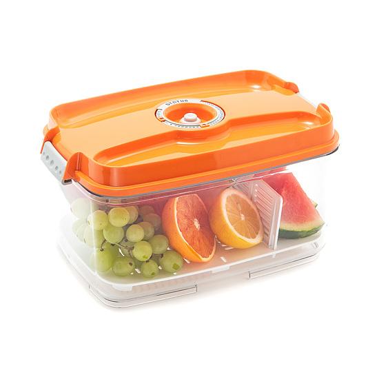 Vákuumtároló doboz, hasáb (narancs, 4,5 L)