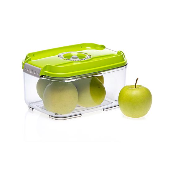 Vákuumtároló doboz, hasáb (zöld, 2,0 L)