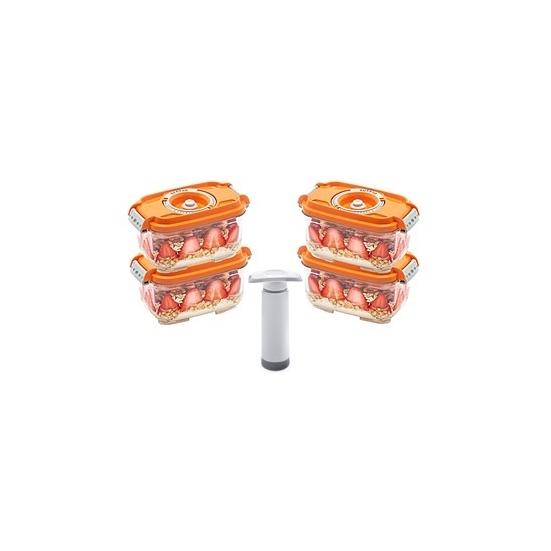 Status szett (4 db narancs vákuumtároló doboz 0,5 L+1 db kézi pumpa)