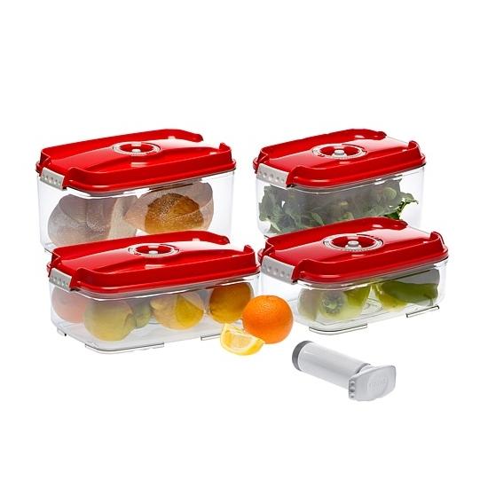 Status szett (4 db piros vákuumtároló doboz: 1,4L + 2,0L + 3,0L + 4,5L+1 db kézi pumpa)